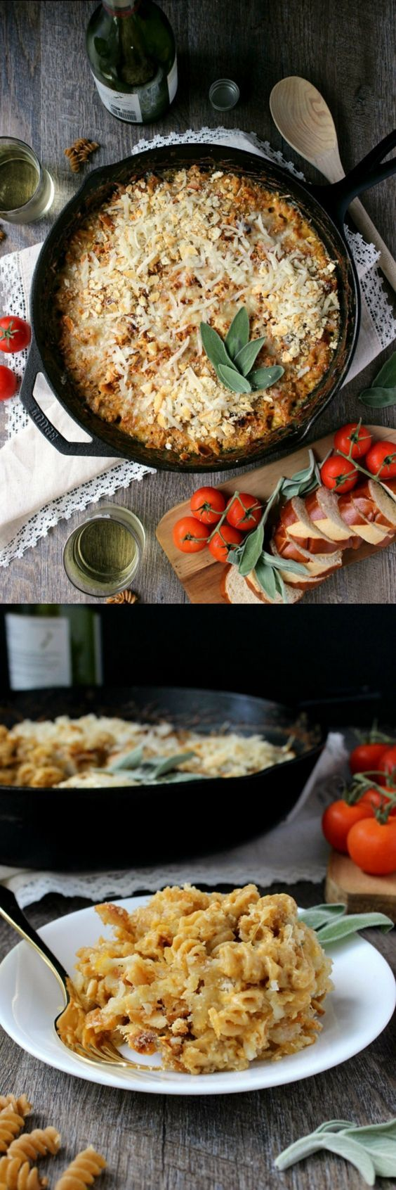 Cheesy and savory with a hint of kick and spice, this One-Skillet Butternut Alfredo Baked Fusilli is as easy to make as it is comforting and delicious.