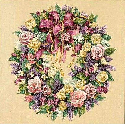 Wreath of Roses. Венок из роз. Dimensions. Скачать схему вышивки крестиком