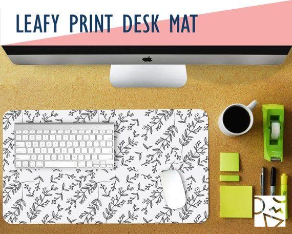 Leafy Print Desk Mat 2 Sizes Extra Large Mouse Pad Mouse Etsy Desk Mat Diy Mouse Pad Cactus Print