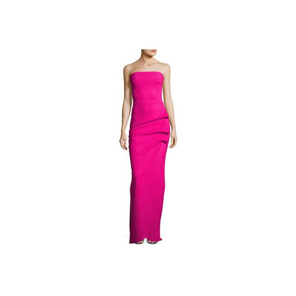 La Petite Robe Clotilde Strapless Long Gown w/ Halter Strap (¥121,090) ❤ liked on Polyvore featuring dresses, gowns, azalea, pink evening gowns, long pink dress, long evening gowns, pink strapless dress and long ball gowns