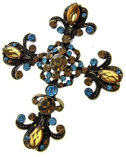 A Hematite & Smokey Topaz Crystal Cross Brooch