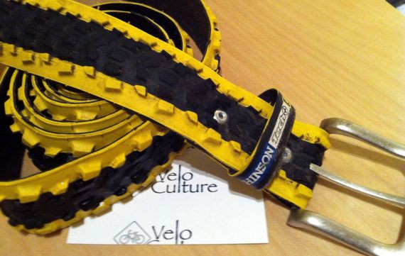 Recycled bicycle tyre belt  Hutchinson Tech Gold by VeloCulture, £20.00