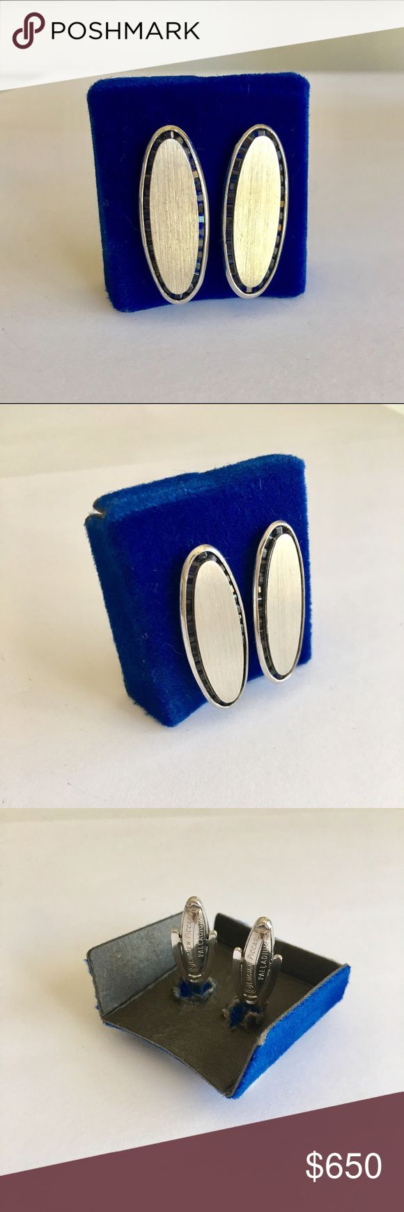"""Lucien Piccard Blue Sapphire Palladium Cufflinks Stone: Sapphire. Metal: Palladium. Length: 1.25"""" x 0.5"""". New without tags. Comes in cufflink box. Lucien Piccard Accessories"""