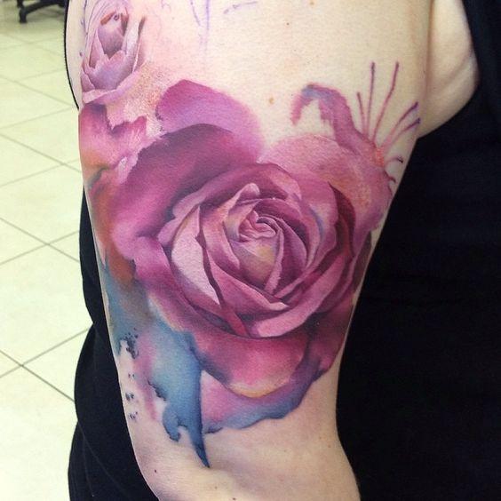 watercolors purple roses watercolor rose tattoos and body art in ...