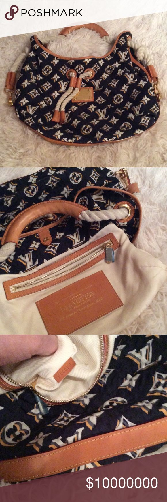 Louis Vuitton Limited Edition Cruise Bulles GM Limited release authentic Louis Vuitton Canvas Monogram Cruise Bulles GM Navy. Finely crafted of navy tone canvas with a LV monogram in ivory, white, and yellow. Features natural leather trim and a top handle with a leather grip and a rope cinch cord. Opens to a fabric interior with zipper and patch pockets. Questions or more pictures comment below or my 📧 is located under the 'About' tab. Louis Vuitton Bags