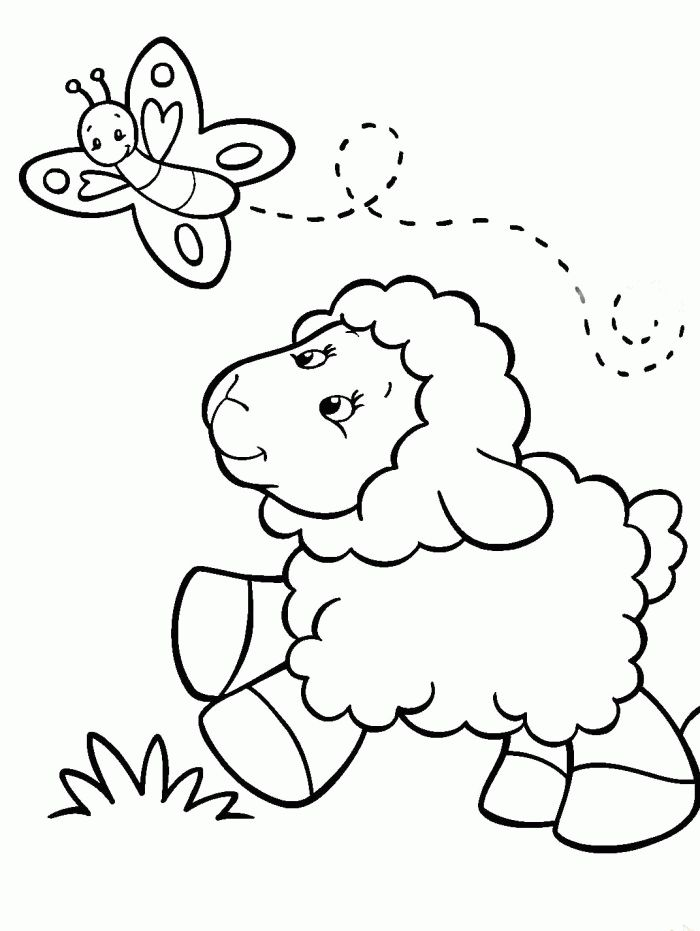 Baby Sheep Chasing Butterfly Coloring Pages - Sheep Coloring Pages