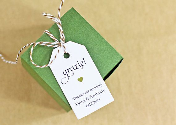 25 Personalized Favor Tags - grazie! - printed in an elegant lettering style with your choice of heart color.    ~grazie~ is pre-typeset and cant