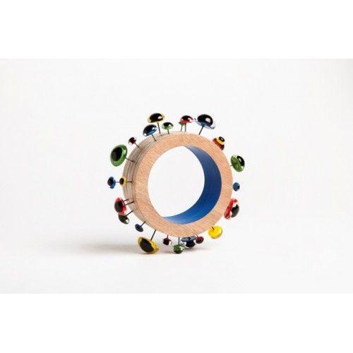 """I Against I"" series, bracelet, vintage glass bird eyes, plywood, paint, epoxy resin"