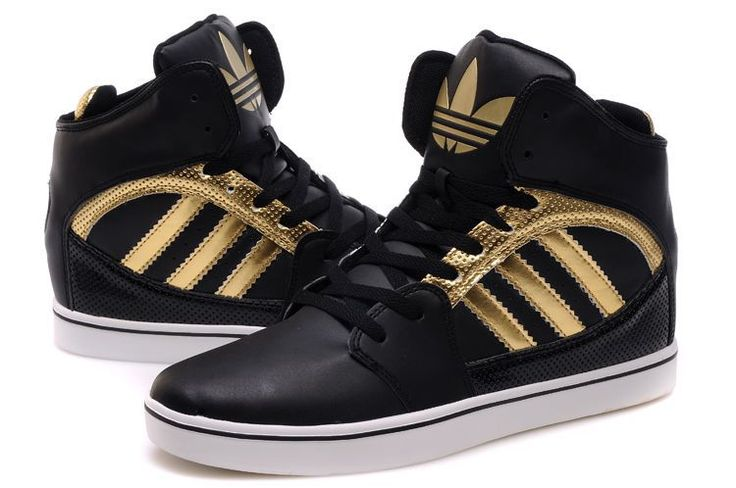 black and gold adidas high tops shoes