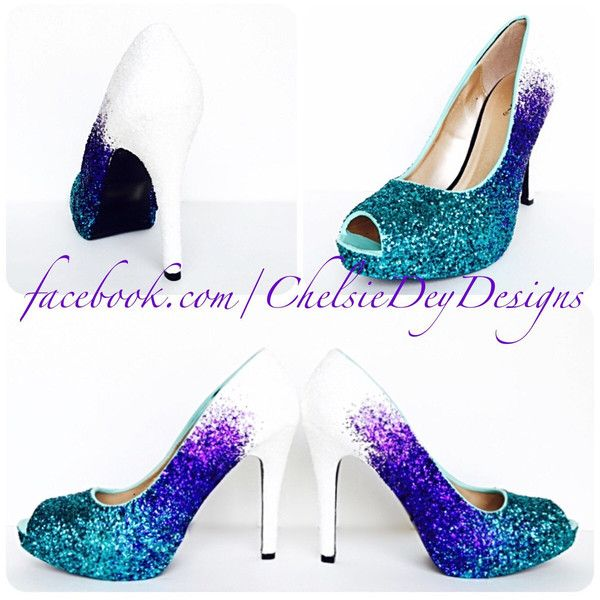 Glitter High Heels Blue White Ombre Peep Toe Pumps Purple Teal Wedding... ($115) ❤ liked on Polyvore featuring shoes, pumps, silver, women's shoes, silver pumps, purple wedding shoes, purple pumps, high heel pumps and wedding shoes