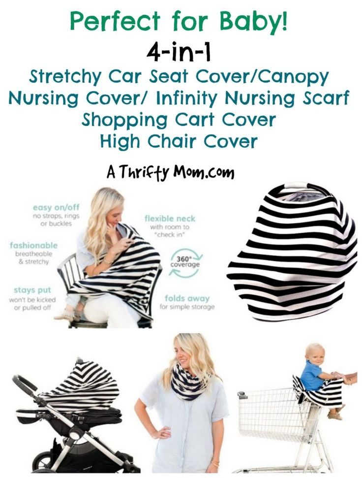 4 in 1 Strectchy Car Seat Cover, Nursing Cover, Shopping Cart Cover, High Chair Cover