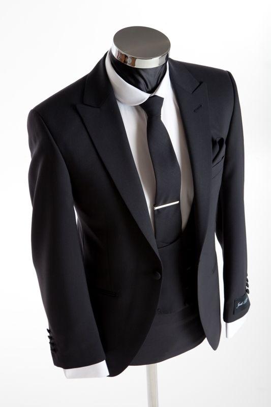 Slim Wedding Suit - Richmond Black - Double Breasted Waistcoat