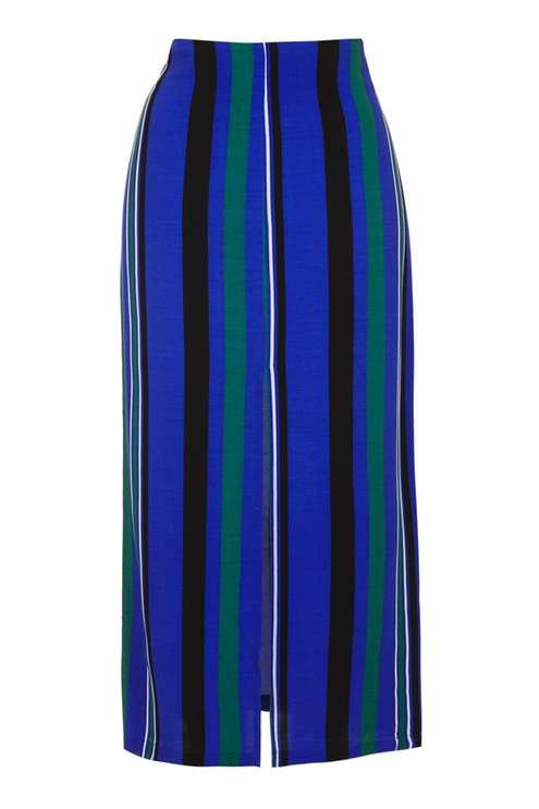 Topshop Stripe Split Maxi Skirt