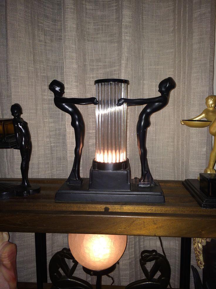 Antique Bronzed ART DECO Nude Women CHINOISERIE Lamp