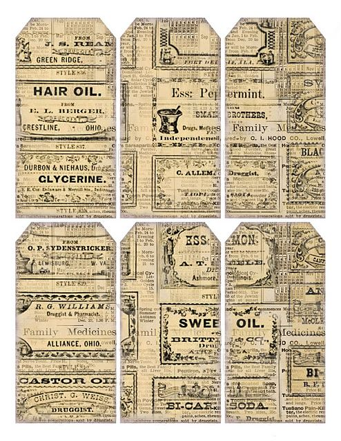 vintage label gift tags ~ free printable