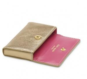 Kate Spade gold business card holder
