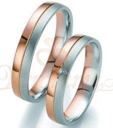 Βέρες γάμου δίχρωμες με διαμάντι Breuning 7099-7100