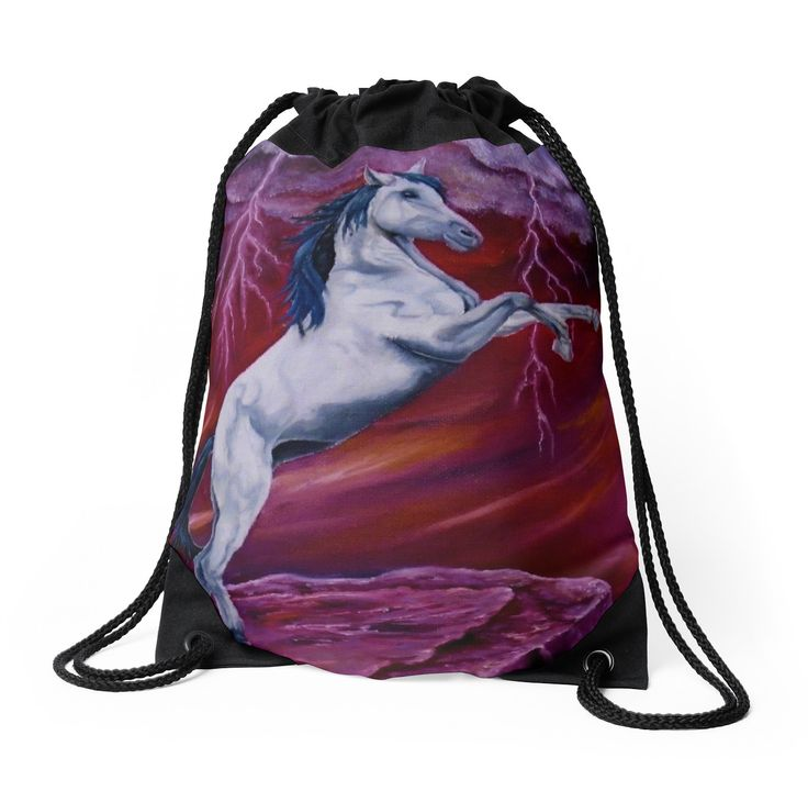 Drawstring Bag,  red,colorful,beautiful,fancy,unique,trendy,artistic,awesome,fahionable,unusual,accessories,for sale,design,items,products,gifts,presents,ideas,horse,equine,wild,animal,redbubble