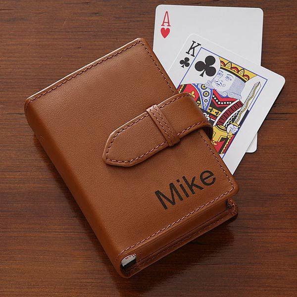 Personalized Leather Playing Card Case - $32.95 USD.