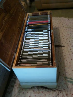 File cabinet bench has such potential. Because who wants to look at a file cabinet? This is pretty genius!