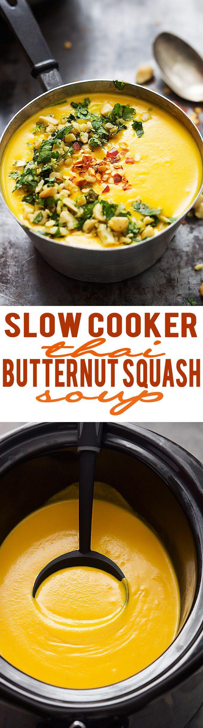Slow Cooker Thai Butternut Squash Soup   lecremedelacrumb.com