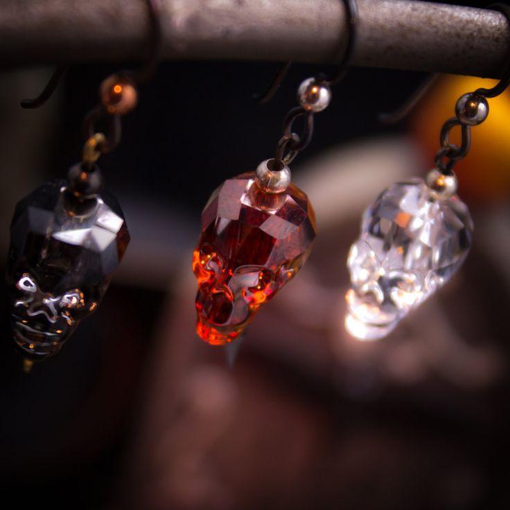 Halloween Swarovski crystal skull earrings 91846E by LaraBellaJewelry on Etsy