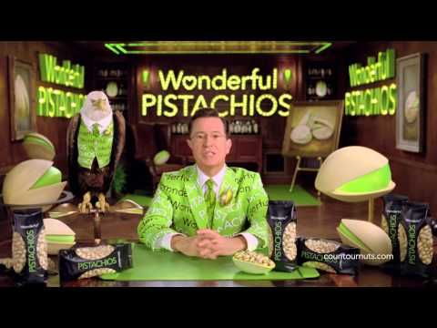 Wonderful Pistachios Stephen Colbert Super Bowl Commercial 2014, Parts 1 and 2 combined....  Buen empaque