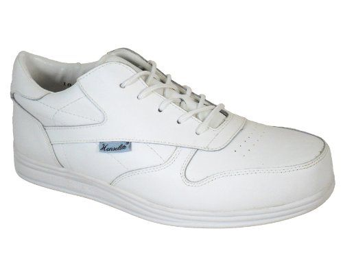 Men's Henselite Victory Sport Lace Up Leather Lawn Bowls Shoes White and Grey UK Size 6 to 13