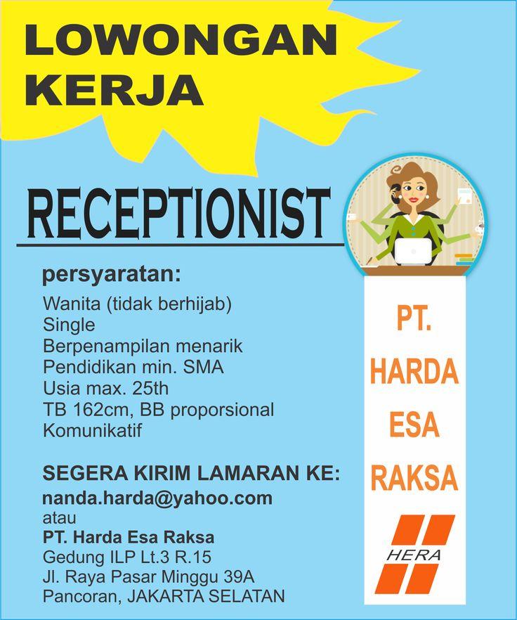 #wanita #lowongan #receptionist #kerja
