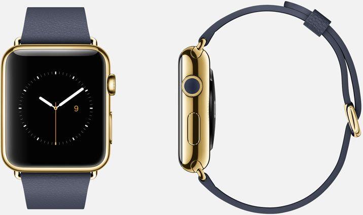 Apple Watch Edition  42mm Case 18-Karat Yellow Gold Sapphire Crystal Display Ceramic Back  Classic Buckle Midnight Blue Leather 18-Karat Yellow Gold Buckle