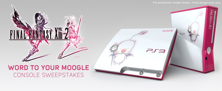 "Very Cool, PlayStation 3 & Xbox 360 console with the ""Word to Your Moogle ""FINAL FANTASY XIII-2 design."