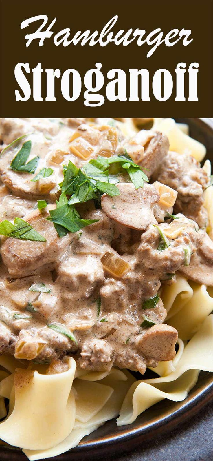 Easy hamburger stroganoff! All the flavor of beef stroganoff but easy on the budget. Cooks up in less than 30 minutes. Your family will LOVE it! On SimplyRecipes.com #stroganoff #beefstroganoff #hamburger