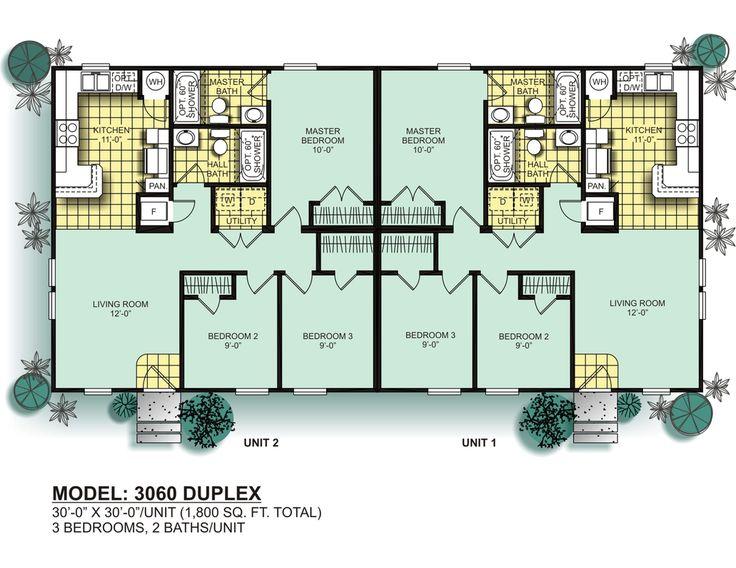 Best 25 duplex floor plans ideas on pinterest duplex for Manufactured duplex floor plans