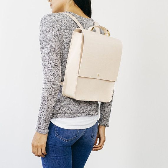 Emma Boxy Natural Leather Backpack by GRACEGORDONLDN on Etsy