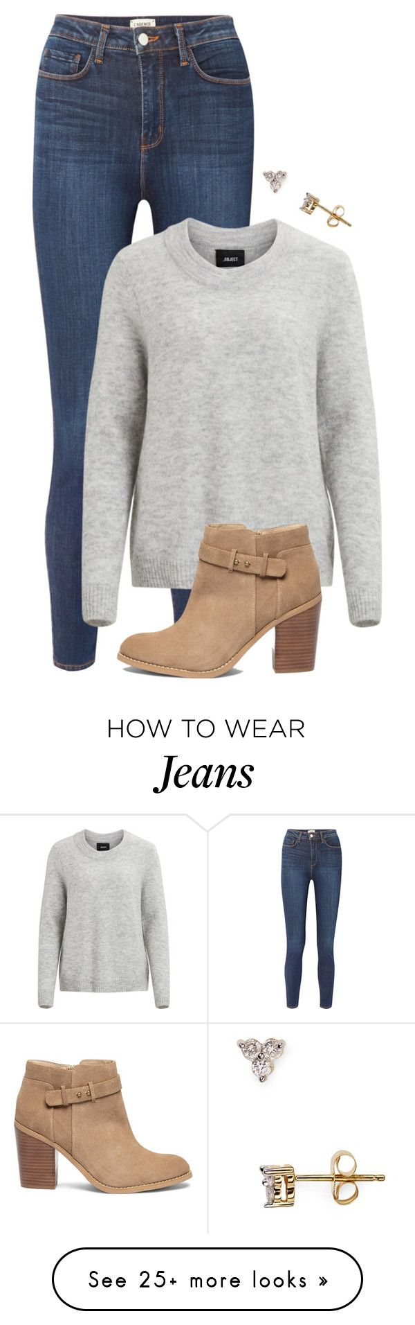 """Knitted Pullover. Skinny Jeans. Ankle Boots & Cluster Stud Earrings"" by coolchick1630 on Polyvore featuring L'Agence, Object Collectors Item, Sole Society and Adina Reyter"