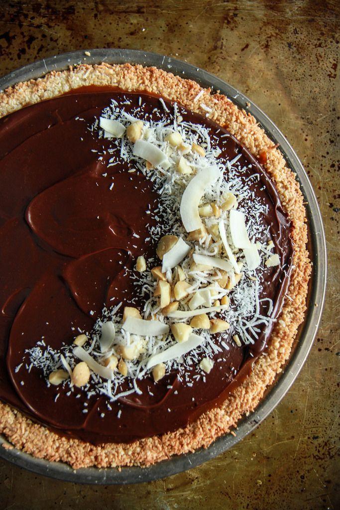 Coconut Caramel Macadamia Nut Chocolate Pie -Vegan and Gluten Free