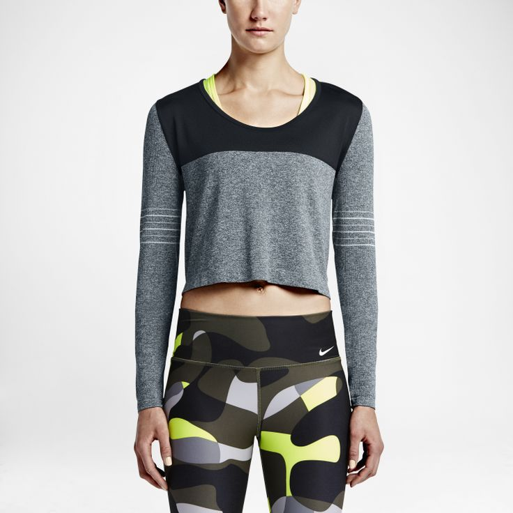 Nike Dri-FIT Knit Epic Crew -   LOOSE-FITTING COMFORT The Nike Dri-FIT Knit Epic Crew Women's Training Top features a wide crew neck and seamless design for a relaxed fit and comfortable feel. Benefits  Dri-FIT fabric helps keep you dry and comfortable Seamless, knit design moves smoothly against your skin Knit-in mesh at upper front and back helps keep you cool Wide crew neck for comfort and ease of movement Cropped silhouette falls at the hips  Product Details  Fabric: Body: ...