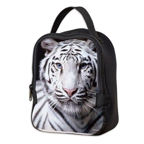 White Bengal Tiger Neoprene Lunch Bag on CafePress.com
