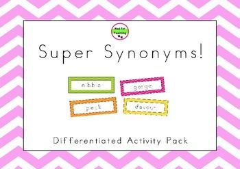 This is big pack of synonyms and related activities to support students beginning to develop their understanding of synonyms to more challenging tasks for extending students. It contains:- 4 x 24 synonym cards. Each pack of cards contains one synonym for a word.