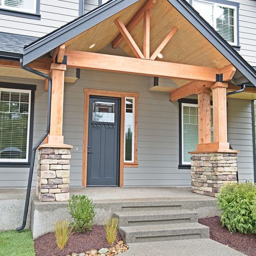 Best 25 craftsman front porches ideas on pinterest for House plans with columns and porches