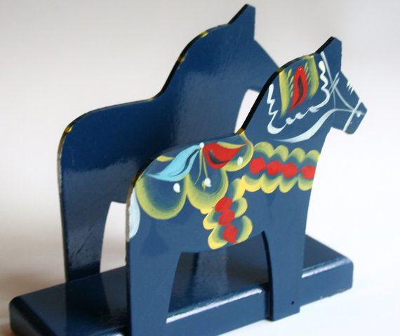 Dala Horse Scandinavian Napkin Holder Decor by Nils Olsson