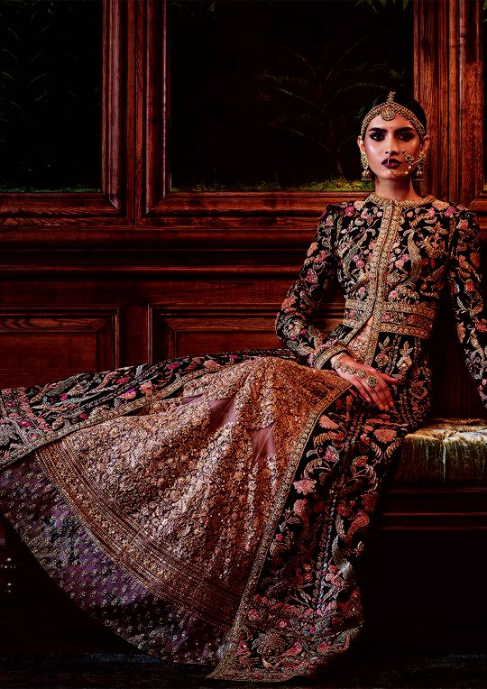 """""""aashiqaanah: Sabyasachi's Firdaus Collection 2016: Firdaus is the highest garden in paradise, and in Sabyasachi rendition, most of the ingredients in the garden have traveled from as far as Burma, Ghana, and Turkey. Forty-seven artisans and three fine artists worked on the making of a single coat for over 1,600 hours. There were dip-dyed brocades, vegetable-dyed silk floss, velvet couching, brass sequins and more handwork than is visible to the untrained eye."""""""