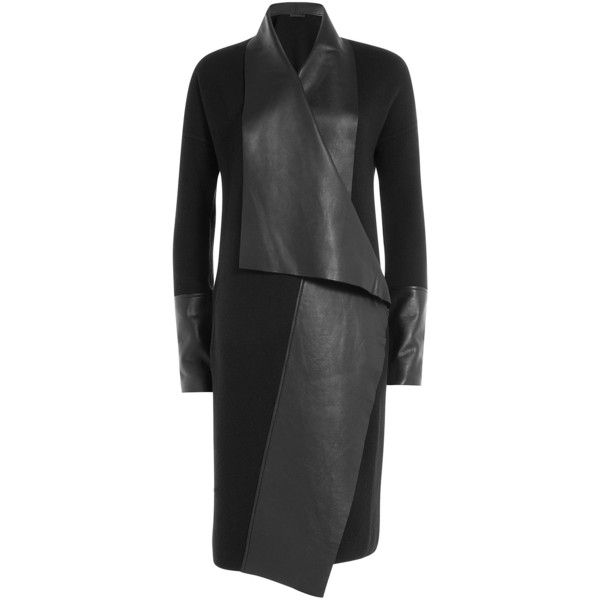 Donna Karan New York Wool Coat ($1,445) ❤ liked on Polyvore featuring outerwear, coats, black, donna karan, slim fit coat, slim fit wool coat, drape coat and wool coat