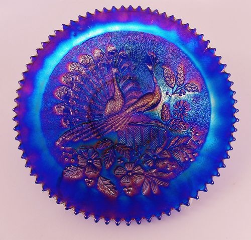 Spectacular Northwood Stippled Electric Blue Peacocks Carnival Glass Plate | eBay