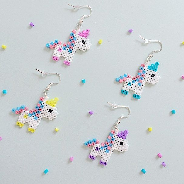 Just finished making these *adorable* bubblegum pixel unicorn earrings! I hope you like them Available in four supercute pastel colours, or as a full set (two pairs). Click on the Etsy tag for more photos and info!