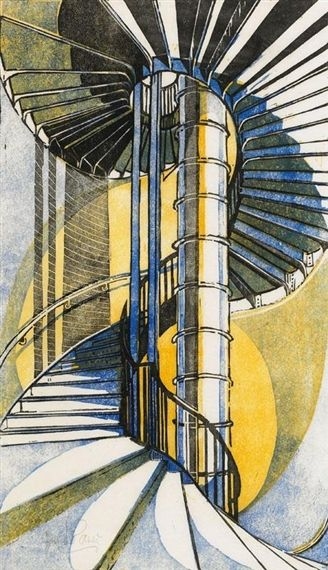 """""""The Tube Station"""" linocut by Cyril Edward Power. Tags: Linocut, Cut, Print, Linoleum, Lino, Carving, Block, Woodcut, Helen Elstone, Underground, Staircase, Stairs, Industrial, Spiral."""