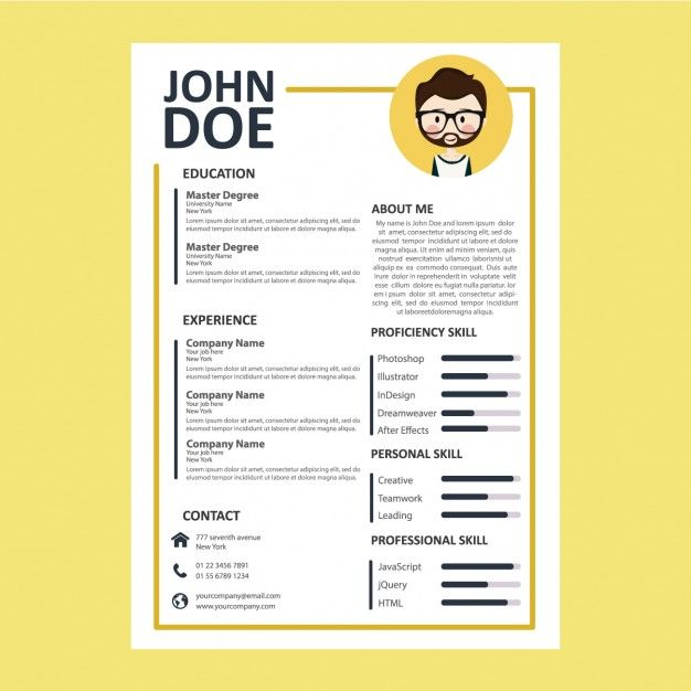 Coloured curriculum template Free Vector