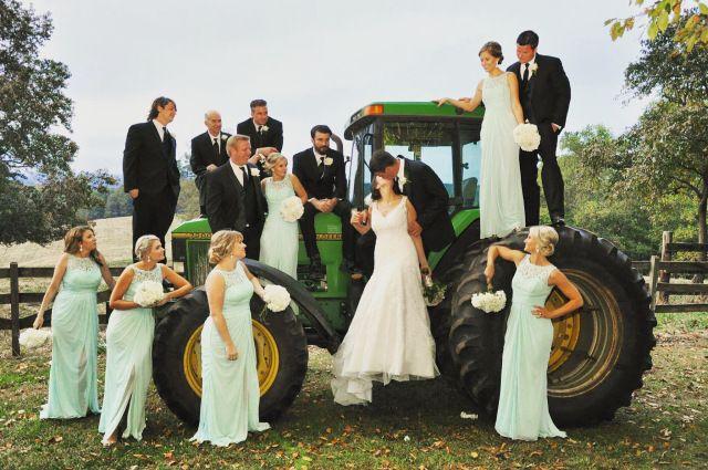 Wedding Party on John Deere Tractor for Rustic Backyard Farm Wedding