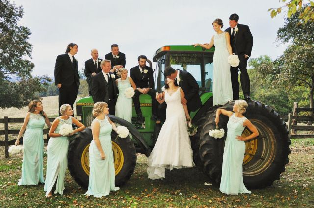 Wedding Party on John Deere Tractor for Rustic Backyard Farm Wedding