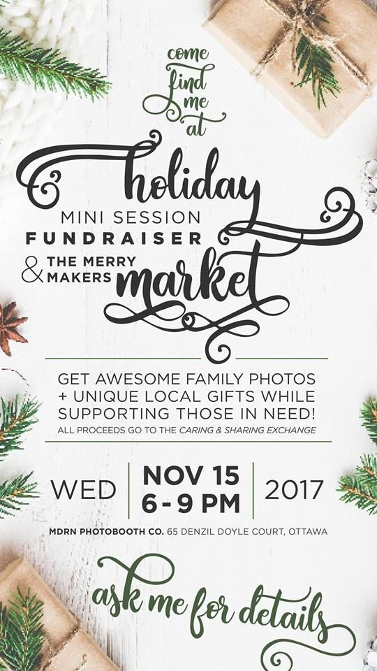 Still in need of that Christmas card photo? Get it done while giving back to your city this holiday! The Rising Tide Society of Ottawa is holding a Holiday Mini Session fundraiser & the Merry Makers Market! Get your photo taken and shop some fun, local crafters! Refreshments also available for donation! Only 9 spots left for tonight so make your move and reserve your time slot…